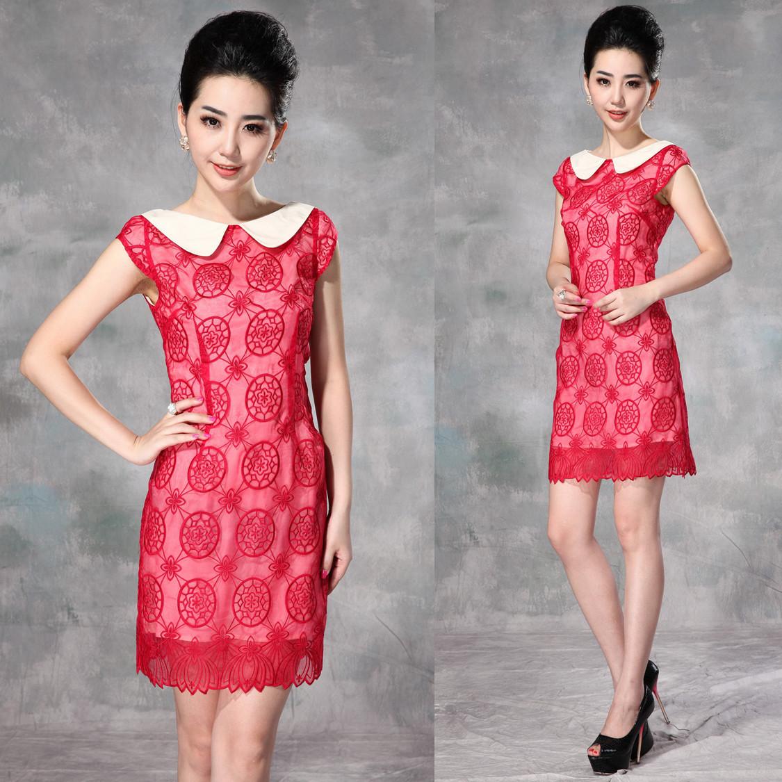 中年夏装女装 欧美大牌娃娃翻领红色宴会 花朵刺绣欧根纱连衣裙子