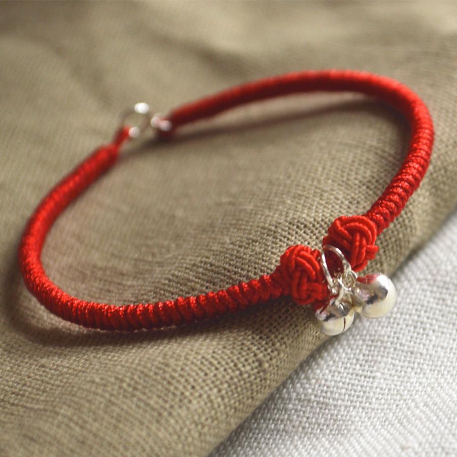「缘兮原创」手工编织 九乘金刚结 黑红绳 纯银铃铛 红绳手链手绳