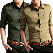 Military style men's shirts new spring fashion Korean Slim Men's shirt high quality shirt quality