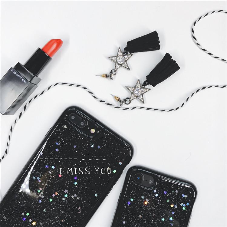 韩国 闪粉星星黑iPhone6s情侣手机壳苹果7Plus全包防摔硅胶软壳女