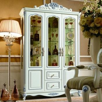 法拉丹顿 xt实木酒柜玻璃柜子饰品柜三门酒柜 欧式雕花 餐厅家具图片