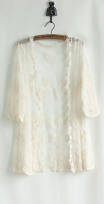 2013 春装新款韩版女装时尚百搭蕾丝镂空中长款罩衫开衫钩花外套