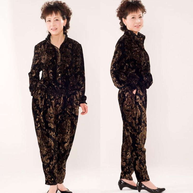Одежда для дам Среднего специального 2013 и старые возрасте женщины весной загружен золото длинные бархатные костюм большого среднего возраста матери платье моды костюмы