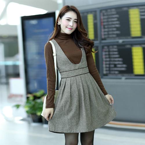 Женское платье 2013 весна новая Корейская версия женщин высокого качества шерстяной жилет юбка платье жира мм плюс размер юбки в конце реальная вещь