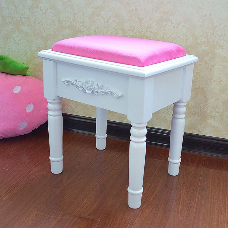 田园欧式碎花梳妆凳 海绵坐凳 白色化妆凳子 实木换鞋图片