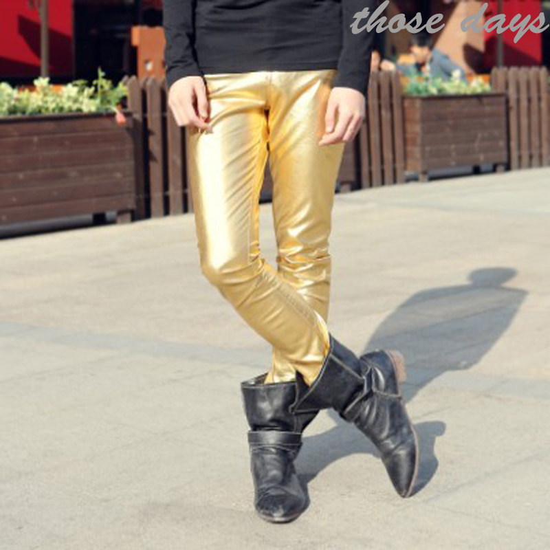 2013 Korean male Golden silver slim PU leather pants leather pants shows wave of show pants pants pants, men