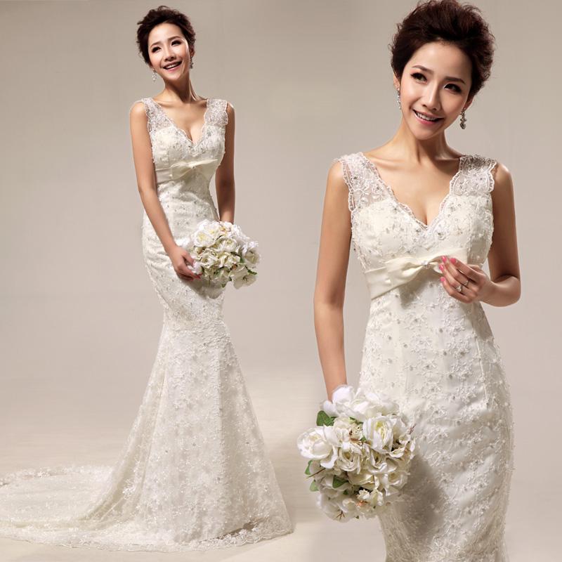2013新款 皇室复古 性感深V 豪华蕾丝修身 鱼尾拖尾新娘婚纱35