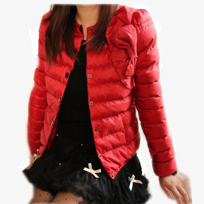 Женская утепленная куртка Подлинное толстые зима 2013 Корейский Корейский светская принцесса бант тонкий короткий пуховик