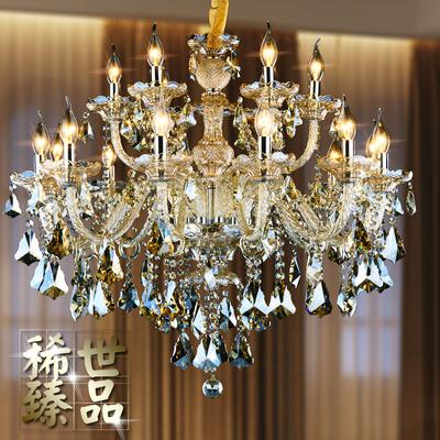 欧式水晶吊灯干邑色欧式蜡烛水晶吊灯客厅灯餐厅灯卧室吊灯书房灯
