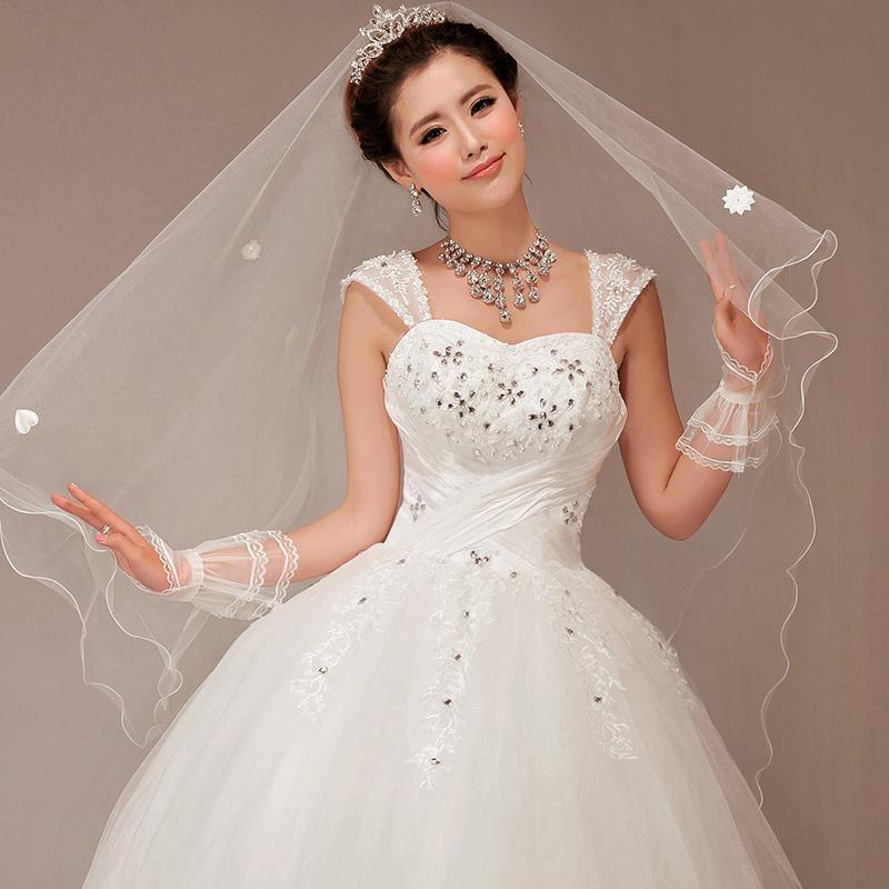 2013婚纱礼服冬季新款公主韩版婚纱韩式吊带双肩蓬蓬裙齐地婚纱