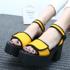 秋鞋女2013新款鞋子女夏季凉鞋一字式扣带罗马高跟鞋粗跟防水台女