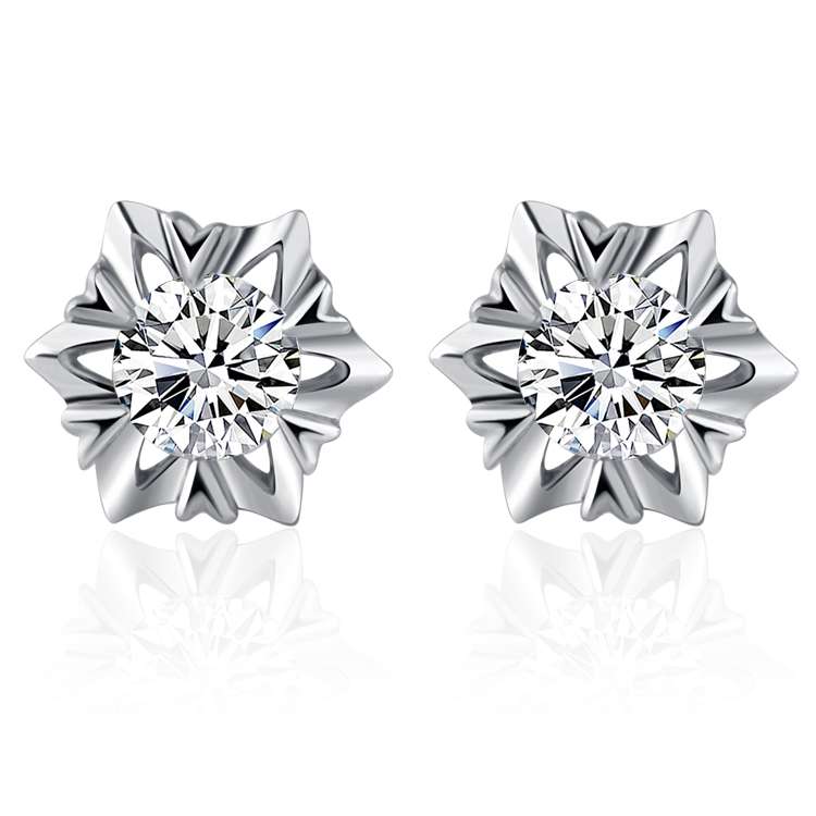 Authentic 18K white gold natural diamond studs earrings women's snowflake earring white Platinum Super Pack email specials