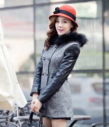 Korean style hooded fur collar woolen jacket