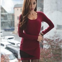 Korean style personality slim long sleeve dress stitching yarn