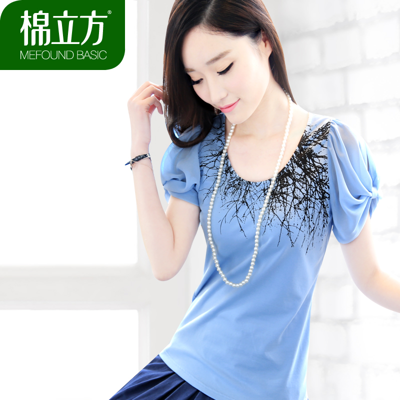 Cubic 2013 summer dress new Korean cotton plus size self print chiffon puff sleeve cotton Ladies t-shirt short sleeve