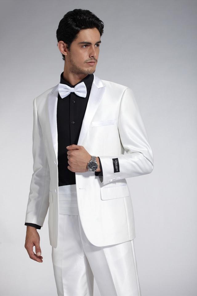 春装男士西服套装 白色绅士礼服 修身西装套装 婚礼宴会经典礼服
