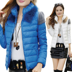 Slim coat jacket raccoon fur collar thick cotton jacket