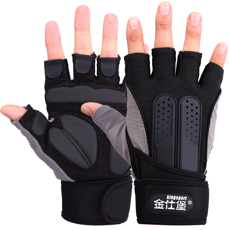 Jin Shibao fitness glove men's long wrist fitness glove gloves protect hands movement fingerband