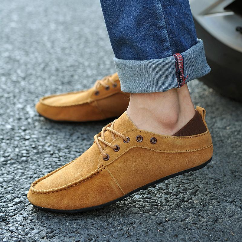 Демисезонные ботинки Ленивый лето мода обувь корейской версии британских мужчин Les ретро Повседневная обувь тенденция линии бин лодки обувь