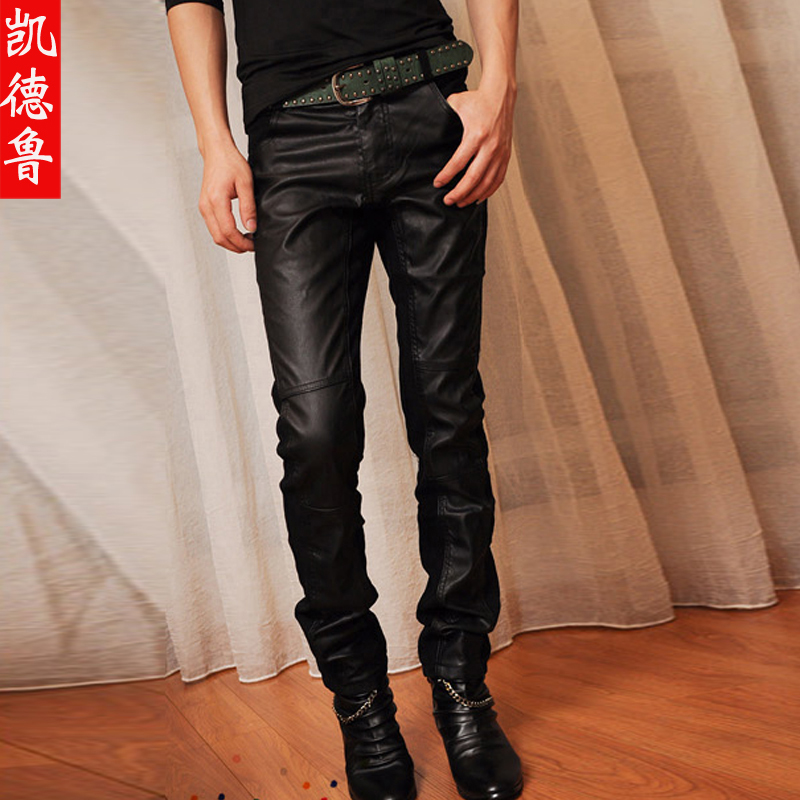 2013 new style men's leather pants straight male Korean personality Slim pants, men s trousers pants men