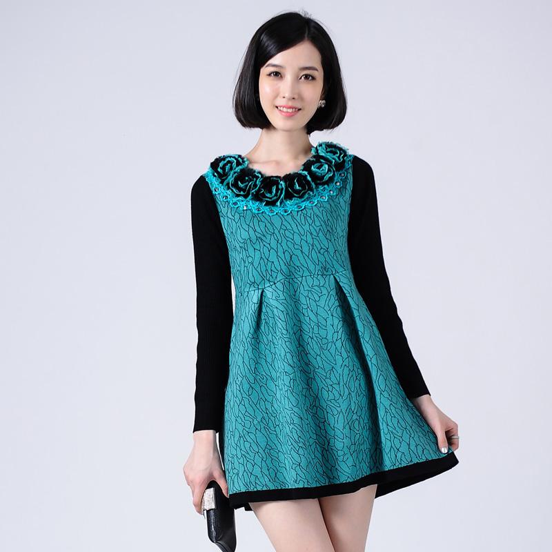Женское платье 2013 новый стиль женской моде плюс размер вязать рукав длинный полосатый костюм себя Соболь шерсти платье кашемир осень/зима