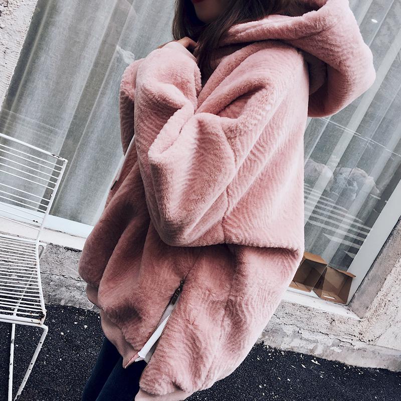 秋冬韩版粉色连帽加绒加厚毛毛绒绒卫衣女套头宽松毛茸茸上衣外套