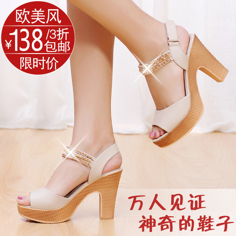 Belle she high summer 2013 new authentic with Luo Mashui drill coarse fish mouth with platform Sandals women shoes