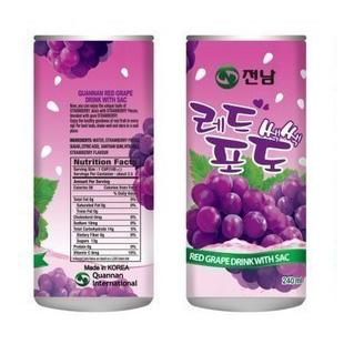 T2韩国进口食品 全南水果饮料 红葡萄果汁 大果肉 240ml 15听/箱