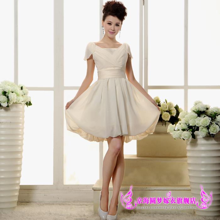 新款时尚韩版一字肩包肩短款结婚晚礼服敬酒服香槟色伴娘小礼服裙