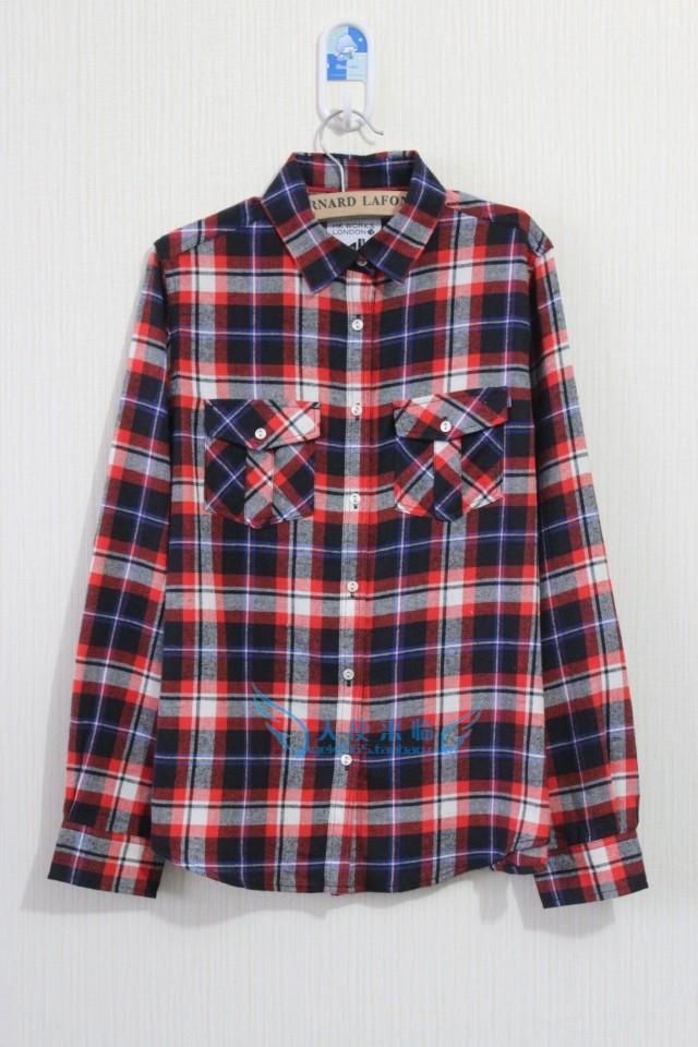 женская рубашка Оригинальные HK работает хлопковая рубашка проверка