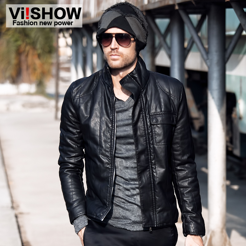 Viishow 2013 spring machine man's leather PU men's jackets men promoted the new leather jacket men's clothing