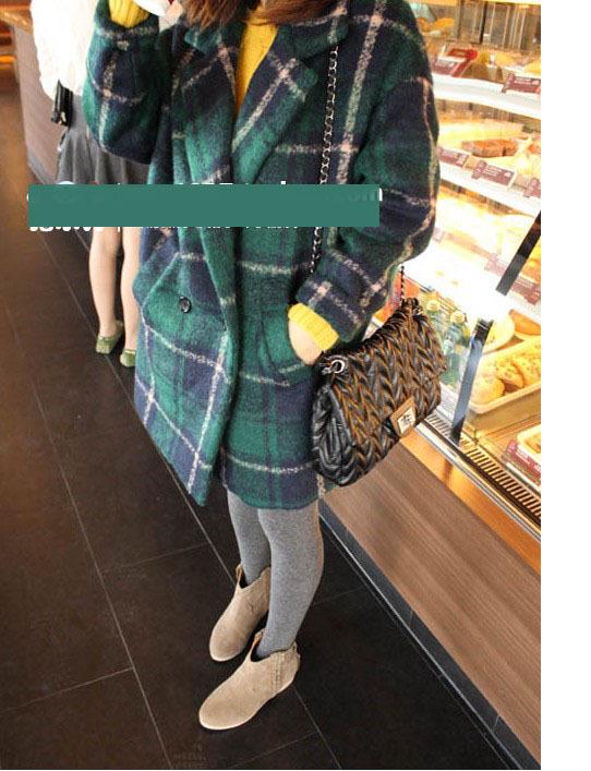 женское пальто Осень/Зима 2013 Новый корейский стиль зеленый костюм плед как длинные шерстяные пальто wt243