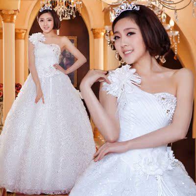 婚纱礼服2013最新款 韩版甜美公主齐地斜肩 新娘单肩吊带花朵婚纱