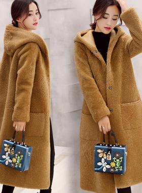 秋冬2016新款女装宽松驼色中长款毛呢外套女羊羔毛连帽长款呢大衣