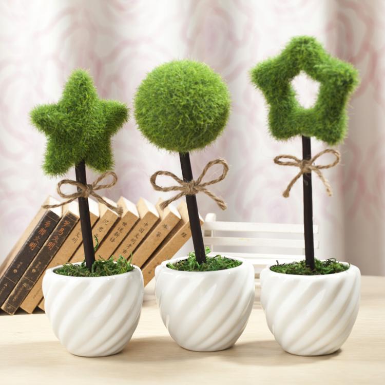 创意田园陶瓷花瓶仿真迷你绿植物盆栽 家居装饰摆件礼品 个性盆景