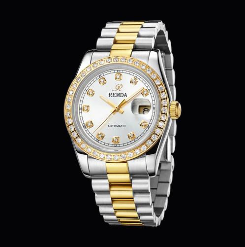 专柜正品雷恩达手表 经典梅花镶钻白机械男士腕表s630图片