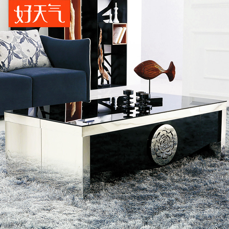 好天气家具 时尚简约小户型情玫茶几 个性创意钢化玻璃茶几 C159