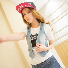 2013 summer new Korean Slim wild casual wear white decorative solid washed denim vest waistcoat Women