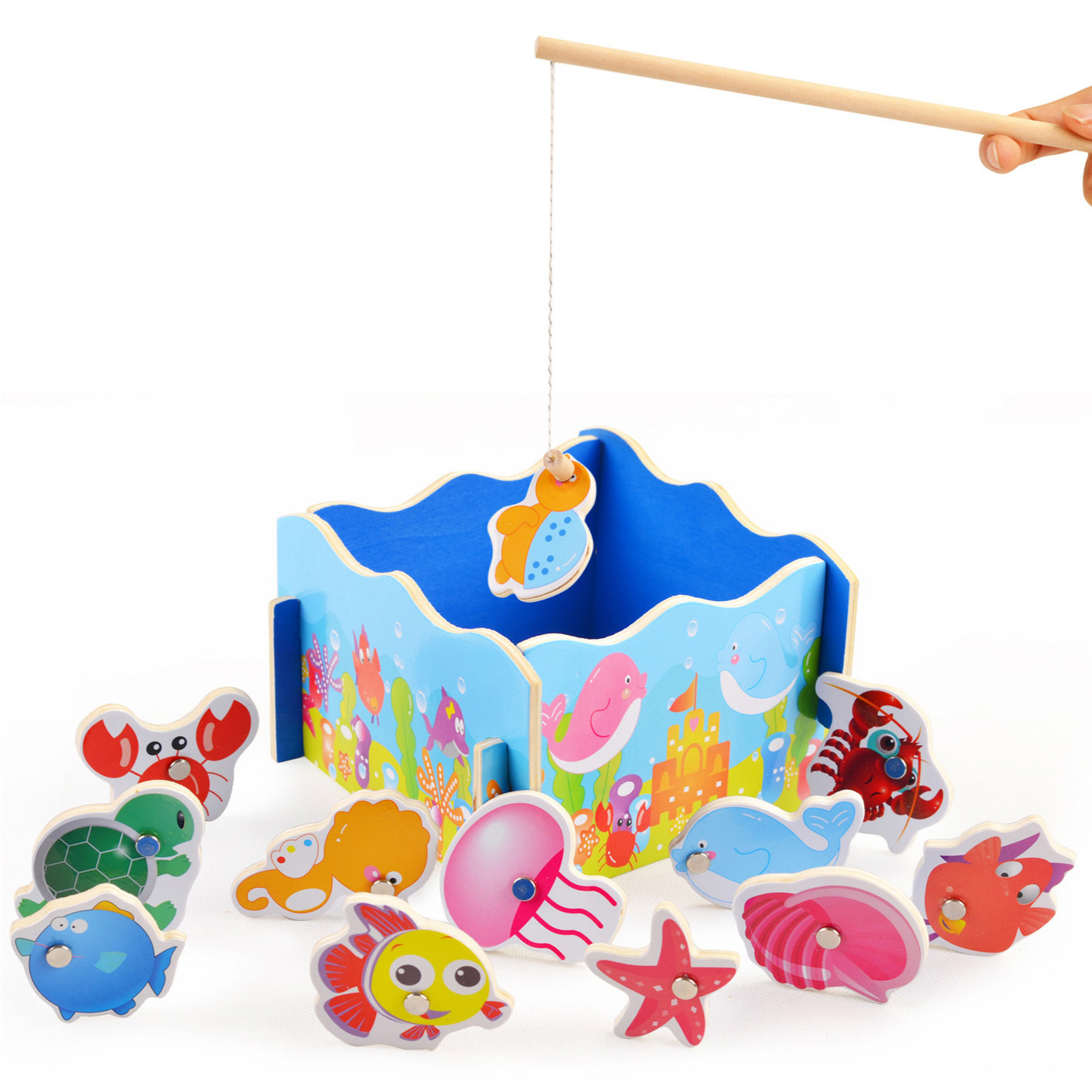 Taobao magnetic fishing children puzzle wooden baby toys 1 2 years