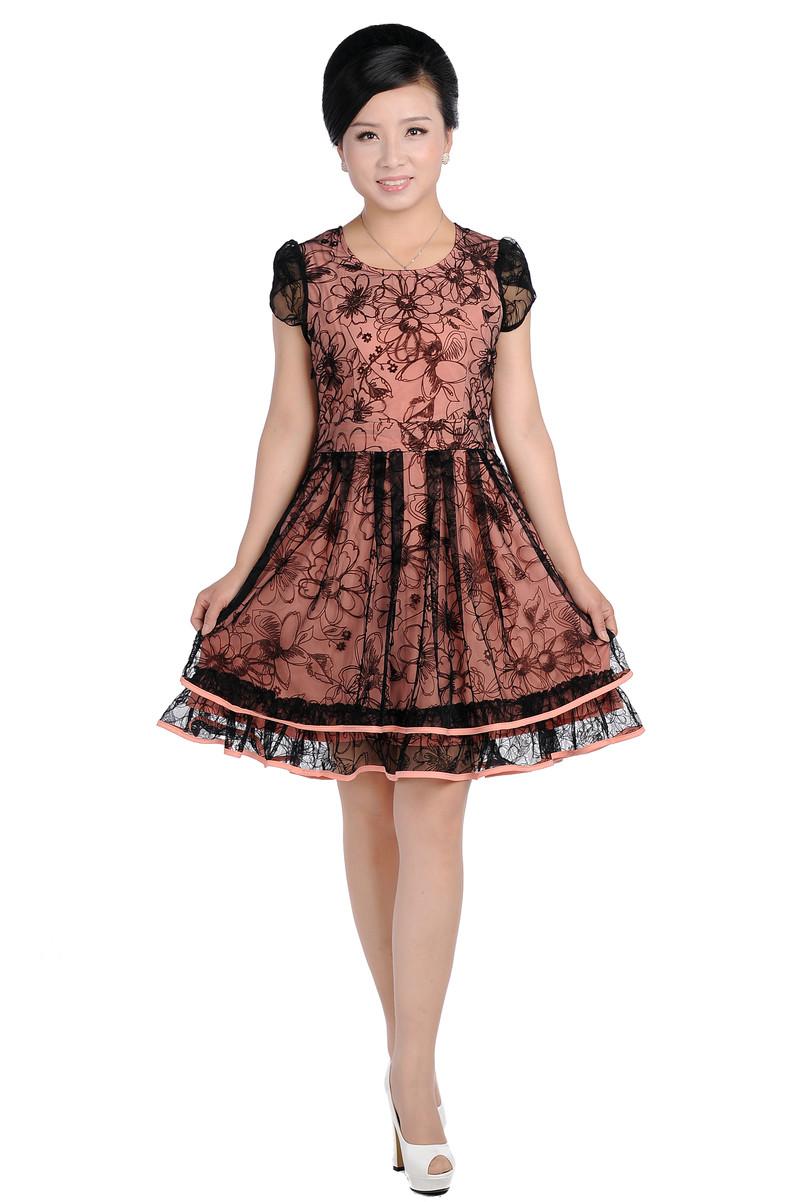 中老年妇女气质蕾丝夏季新款40岁女装夏装新款裙子中年女性连衣裙