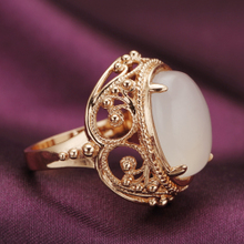 Jz117 NANAZI authentic retro rose gold white pith white agate ring ring offered good luck