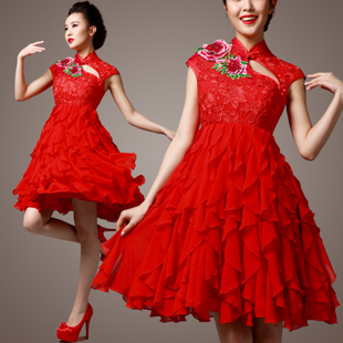 Dressing gauze Philip Sunrise micro. Red collar embroidered short bridal gowns toasted wood ear clothing qipao