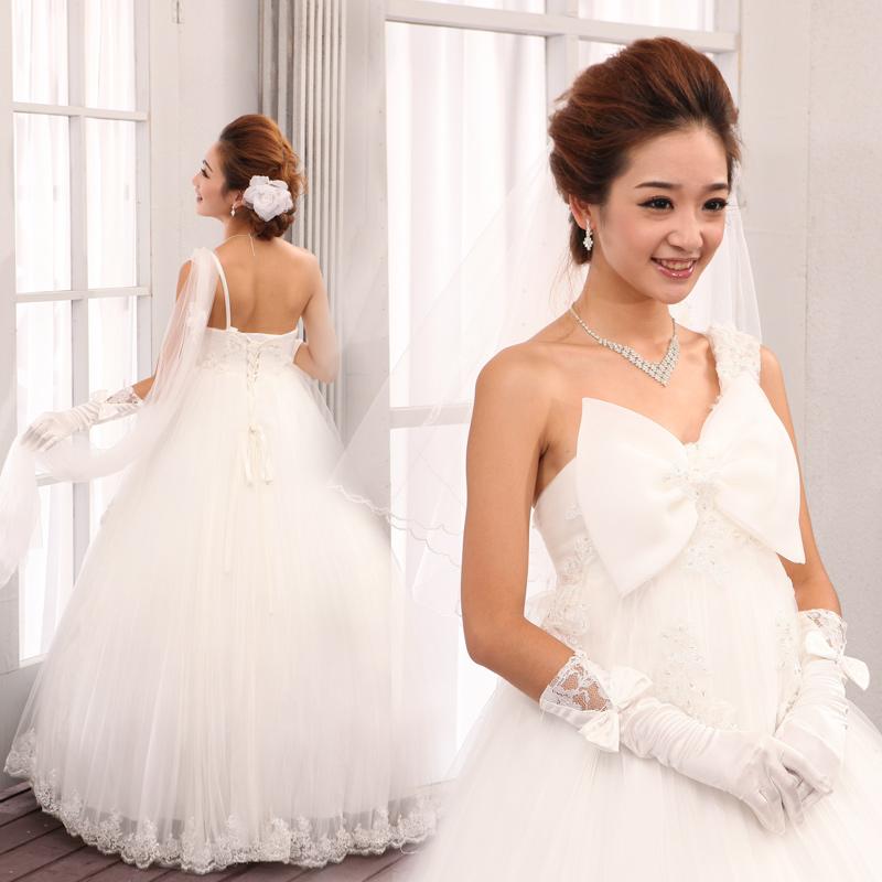 婚纱礼服2013最新款齐地单肩婚纱抹胸孕妇装 蓬蓬裙婚纱韩版婚纱