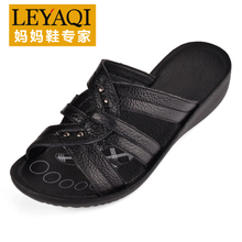 Yue Ya Qi 2013 shoes summer sandals slope with sandals and slippers mother leather soft bottom middle-aged female shoes 12805