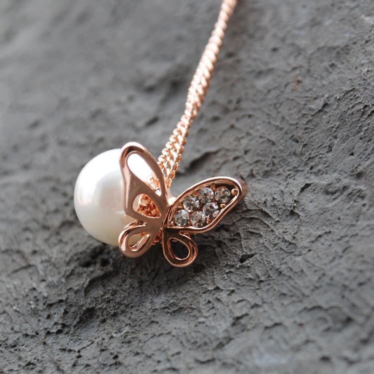 玫瑰金 珍珠蝴蝶 吊坠 项链