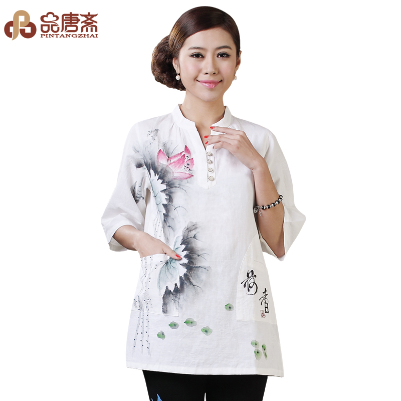 Modified Han Tang Zhai dresses women's summer clothes clothing cotton linen ladies ' original ethnic wind Chinese blouses