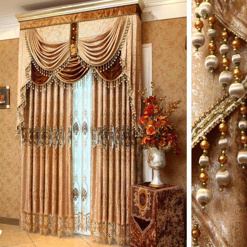 一米欧式窗帘 客厅卧室豪华金色高档水溶绣花布窗纱定做奢华正茂图片