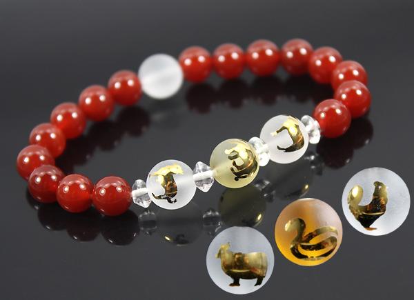 开光属蛇人吉祥物 女款红玛瑙丑巳酉三奇三合明卦手链 佛教工艺品