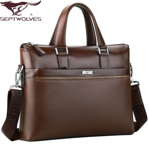 Seven wolves boutique Business Travel bag man bag leather briefcase men shoulder bag men leather satchel bags