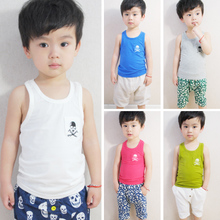 Solid skeleton vest 2013 summer new Korean female baby child erectors sleeveless T shirt vest boy